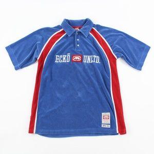 Vintage Ecko Unltd Blue Red ColorBlock Polo Shirt